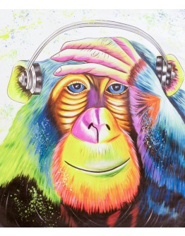 Colourful Monkey Printed Canvas 70x60cm