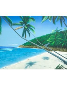 Palm Treen on Beach Canvas 99x79cm