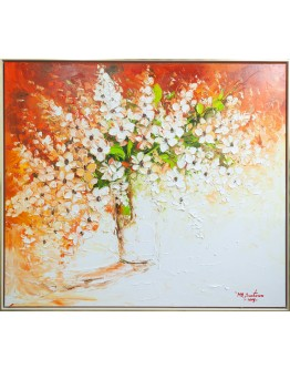 Orange Flowers in Vase Framed Canvas 152x133cm