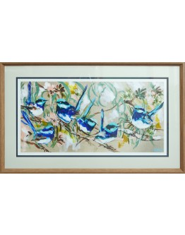 Amanda Brooks - Blue Wrens and Flowering Gum Framed Print 103x67cm