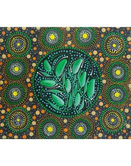 Original Aboriginal Floral Canvas 50x43cm