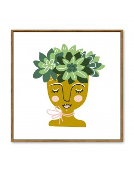 Flowering Face Green Framed Canvas 100 x 100cm