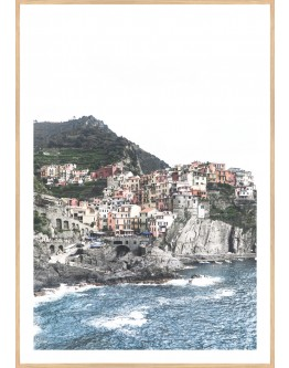 Houses on Hill Framed Print 83x98cm