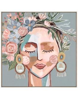 Lady with floral headdress Earrings Framed Canvas 120x120cm