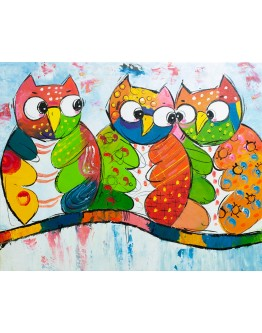 Colourful Owls Painted Canvas 100x80cm