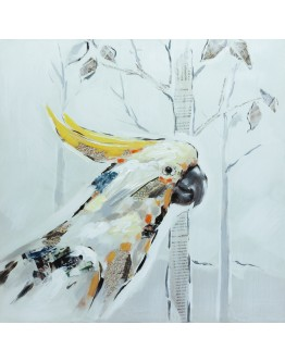 Colourful Yellow Cockatoo Painted Canvas 50x50cm