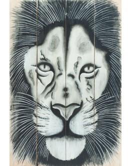 Lion Wood Panel 40x60cm