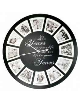 """It's not the years"" black photo Clock Medium 60cm"