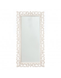 Large Carved Mirror White 46x91cm