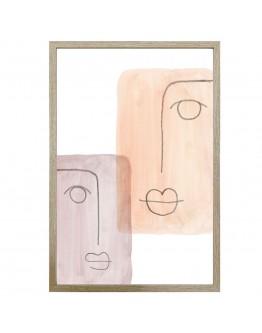 Abstract Face Print w/ Oak Finish 40x60cm