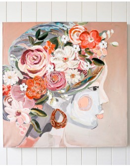 Lady In Floral Canvas 80x80cm