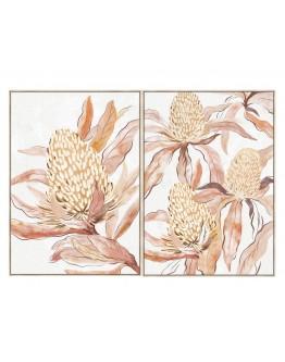 Banksia Flower Print Set of 2 w/ Oak Finish 80x120cm