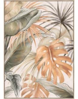 Pink Monstera Print w/ Oak Finish 60x90cm