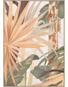 Pink Green Plants Print w/ Oak Finish 60x90cm