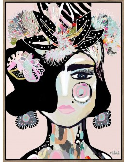 Abstract Festive Frida Print w/ Oak Finish 90x120cm