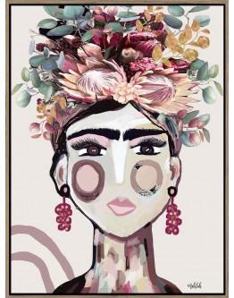 Abstract Australiana Frida Print w/ Oak Finish 90x120cm