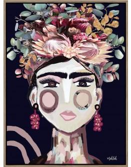 Abstract Australiana Frida Dark Print w/ Oak Finish 90x120cm