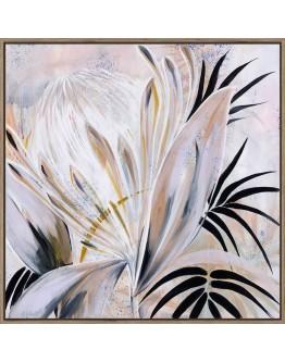 Amanda Skye Flower Print w/ Oak Finish 110x110cm