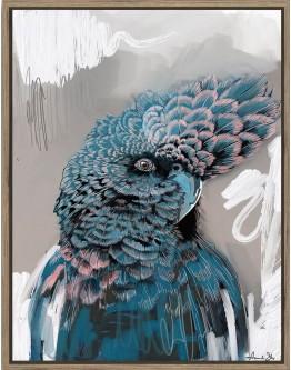 Amanda Skye Blue Cockatoo Print w/ Oak Finish 70x90cm