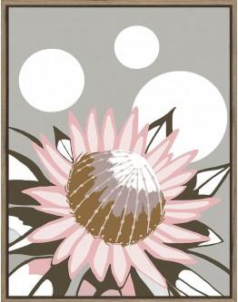 Amanda Skye King Protea Print w/ Oak Finish 70x90cm