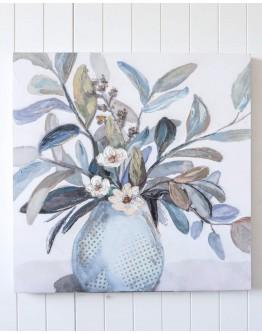 White Flower Vase Print w/ Oak Finish 80x80cm