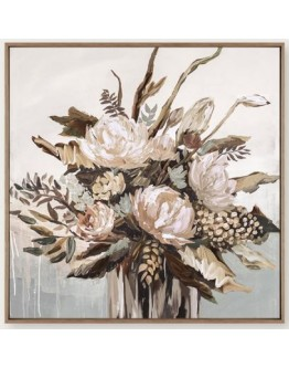 Vase with native flowers Framed Canvas 120x120cm