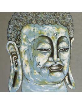 Blue Buddha Face Canvas 150x150cm