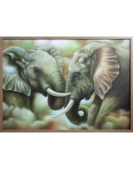 Two Elephants Framed Canvas 140x100cm