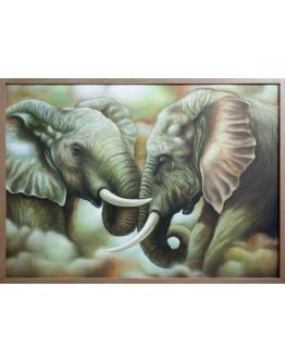 Two Elephants Framed Canvas 140x100cm