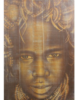 African Lady Wood Panel 50x70cm
