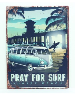 Pray For Surf Tin Sign