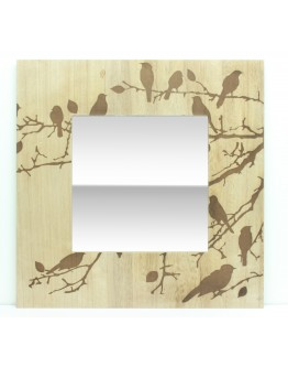 Bird Etched Wooden Mirror.
